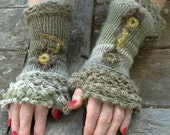 knit and freeform crochet fingerless gloves/ long grey arm warmers with freeform decor/ romantic womens spring wrist warmers