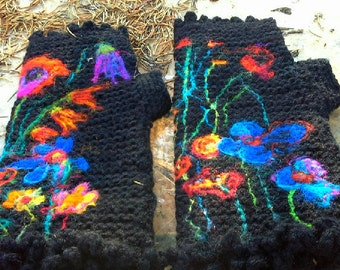 black fingerless gloves with flowers and fringe/ retro style  arm warmers/ made to order