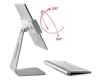 """Solid Folding Portable Metal Desk Mount Stand Holder-ipad,iPAD PRO,iPAD/MS Surface Pro/galaxy,any 9-13"""" tablet"""