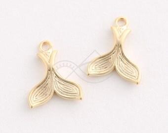 3353014 / Whale Tail / 16k Matt Gold Plated Brass Pendant 12mm x 15mm / 0.9g / 2pcs