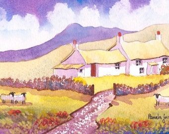 Original Watercolour, Landscape Painting, Pembrokeshire, Cottage, West Wales, 9ins x 7ins, Gift Idea, Art and Collectibles, Home and Living