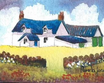 ACEO, Original Watercolour, Welsh Farm, Miniature Painting, Gift Idea, Art And Collectibles