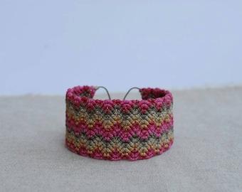 Textile Bracelet / Pink Macrame Bracelet / Fiber Jewelry / Tribal Chevron Jewelry / Cuff Bracelet
