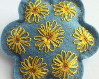 Blue and Yellow Lazy Daisy Brooch
