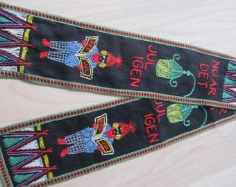Swedish 60's Christmas hand embroidered runner God Jul tomtar Mid-Century Holidays