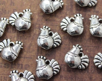 10 Hen Charms Chicken Charms Chicken Pendants Antiqued Silver Tone Double Sided 13 x 13 mm