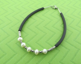 stainless steel rubber & fresh water pearl ankle bracelet anklet