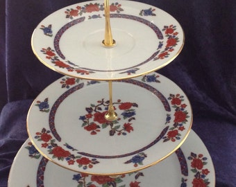 3 tier cup cake stand made with vintage crown Ming fine china