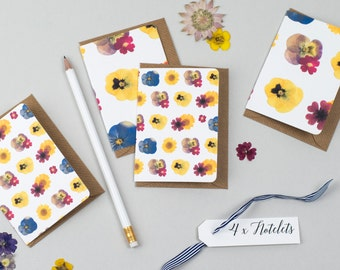 4 x Handmade Mini Notelets in a beautiful Pressed Flower Print - Floral - Thank You / Birthday / Stationery