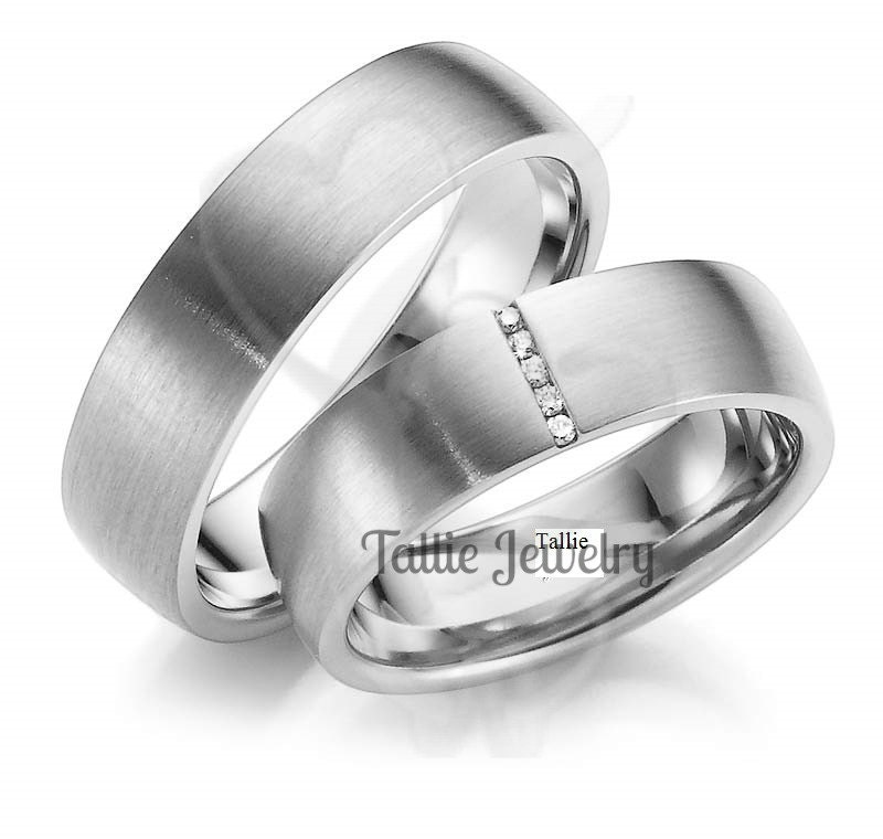His And Hers Wedding Bands Set14k White Gold Diamond