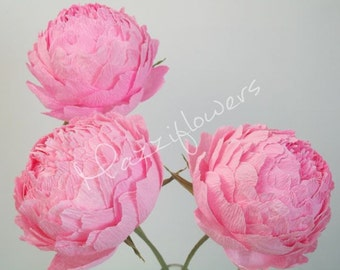 Wedding flowers,wedding bouquet, peonies 3 pcs,paper flower bouquet, peonies,paper flowers,bridal flower,peonies bouquet,