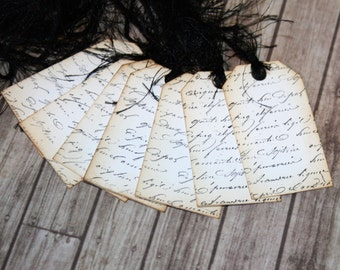 French Script Gift Tags // Set of 7 Gift Tags // Shabby Chic Gift Tag // Paper Decoration