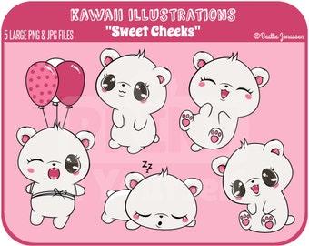 Instant Download Bear Cliparts // Kawaii Clipart // Teddy Clipart // Bear Clipart // Teddybear Clipart // Cute