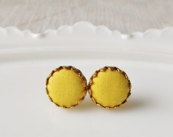 Sunny yellow studs, fabric button earrings, bright yellow fabric earrings