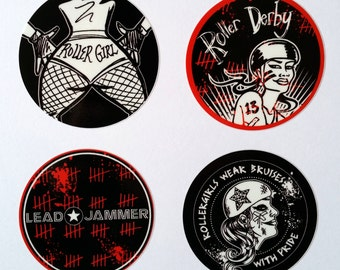 Roller Derby 58mm Vinyl Sticker Pack