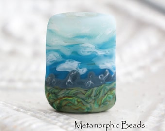 Landscape Focal Bead - Artisan Lampwork Bead - Glass Beads for Jewelry Making