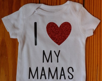 Baby onesie, baby announcement, pregnancy announcement, I love my mamas, lesbian mom, handmade bodysuit, Baby girl clothes, Baby gift