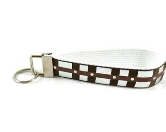 Star Wars key fob, Chewbacca key chain, Chewie bandolier wristlet keychain, Fabric Wristlet