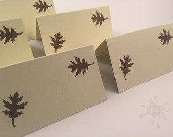 Fall Leaves Place Cards, Ivory and Brown