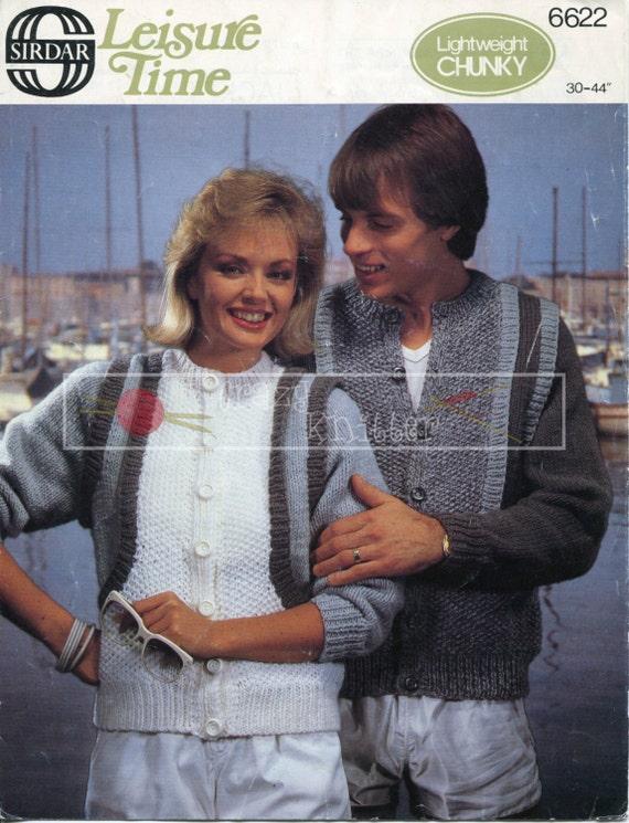 "Unisex Jacket 30-44"" Chunky Sirdar 6622 Vintage Knitting Pattern PDF instant download"