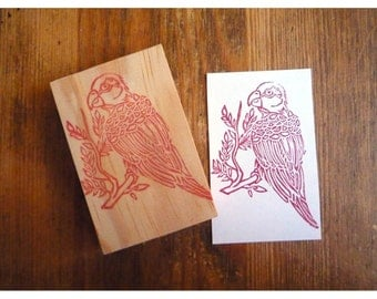 Stamp hand carved bird parrot