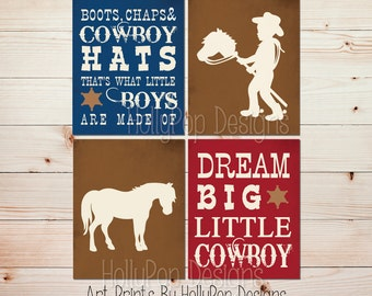 Dream big little cowboy Boots Chaps and Cowboy hats Boy nursery art Baby boy wall decor Cowboy nursery art Horse nursery print boy art #1528