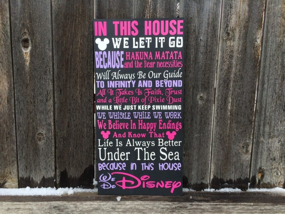 In This House We Do Disney Wood Signgirl By Buzzingbeescrafts