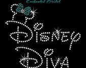 Disney Diva With Minnie Rhinestone Transfer DIY Wedding Bling You Choose Bow Color