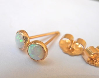 Iridescent white opal Stud Earrings 4mm 14K Yellow Gold Filled Handcrafted