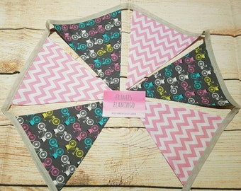 Bunting 4.5ft - Bicycle Bunting - Pink Chevron Bunting - Decoration - Cake Smash - Kids Party - Kids Decor - Flags