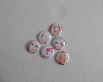 Barbie …6- Flat Back Buttons, 6-1 inch pins, 6-magnets, 6-shoelace backs…6 for 3.00