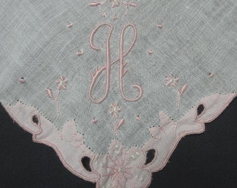 1960s Vintage Monogram H Lady's Handkerchief in White with Pink Hand Embroidery & Applique Flowers, 11.25 Inches Square, Vintage Clothing
