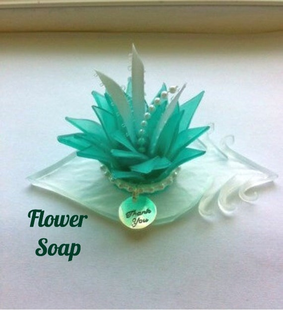 Flowers For Bridal Shower Favors : Teal flower soap bridal shower favors unique baby
