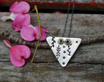 Sterling Triangle Necklace . Hand Stamped  . Rustic . Earthy . Boho