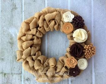 Burlap Wreath, Natural Wreath, Neutral Wreath, Home Decor, All Season Wreath, All Year Wreath