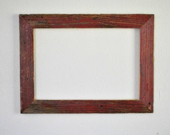 13 x 19  Reclaimed Red Farm Fence Picket Frame. Weathered, and Rustic, One-of-a-kind
