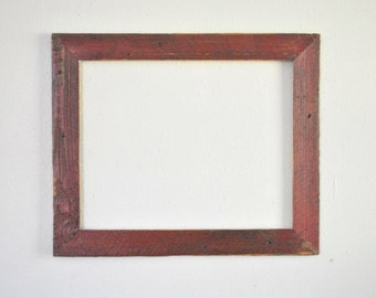 16 x 20 Red Barn Picket Frame, Naturally Worn, Distressed, and Weathered, One-of-a-kind