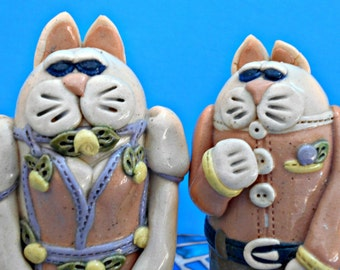 Tall Cat Salt and Pepper Shakers, Hand Made Pottery Kitties, Amusing Feline Figures, Dressed Up Cats, Florals & Pinks, Kitchen Decor,Vintage