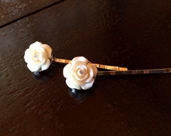 White Rose Bobby Pin Pair