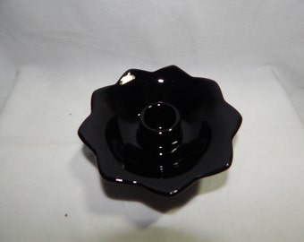 Vintage Black Amethyst Glass Floral Footed Candle Holder
