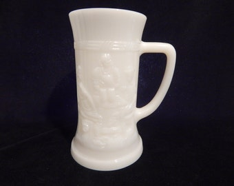 Vintage Milk Glass White Mug Beer Tan Karol's by Federal Glass