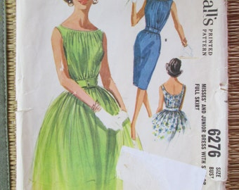 Vintage Sewing Pattern McCalls 6276 Womens Dress 1960s Bust 34