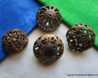 0050 – FOUR Beautiful Pierced Brass Convex Hollow Antique 1800s Buttons