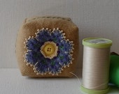 Handmade Pincushion Felted Wool Tan & Periwinkle Blue Floral Mini Square Pincushion