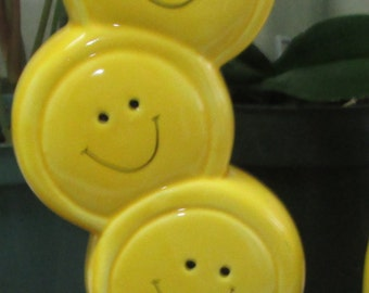 Vintage Yellow Smiley Face Vase Stacked Faces Stacked Smileys