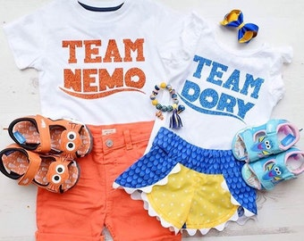 TEAM Dory or TEAM Nemo DIY Solid or Sparkly Glitter Iron On Decal - Baby, Girls, Boys, Mens or Womens Sizes