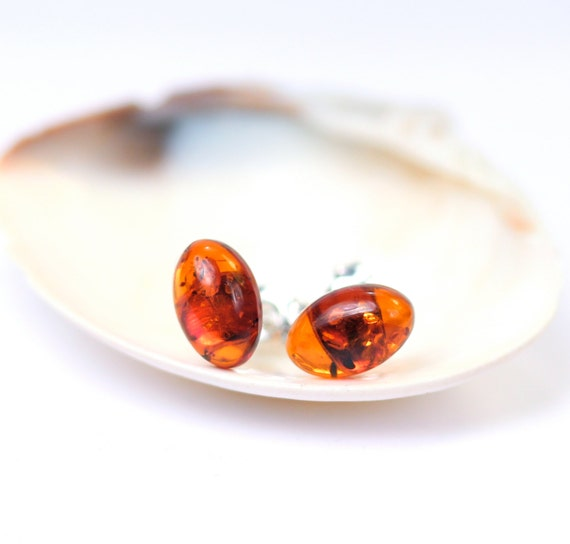 Amber earrings - baltic amber stud earrings - oval earrings  - a cute set of oval amber cabochons set onto sterling silver posts