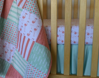 Coral, Pink and Mint Flamingo Crib Quilt/ Baby Bedding Set