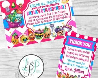 Shopkins Birthday Party Invitations, Shopkins Invitations Print at Home, Shopkins Thank You Cards, Shopkins party supplies, Birthday Card