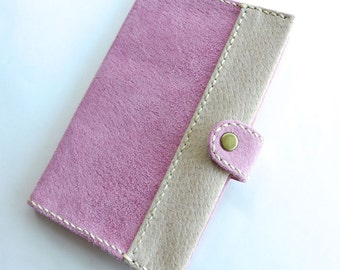 Notebook cover, Size S, with book, Memo cover, Journal cover, Pink & Beige, Diary cover, Free Shipping within Australia